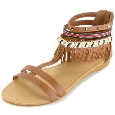 alpine swiss womens fringe sandals beaded u0026 studded strappy