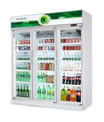 beverage cooler with glass door 3 glass doors commercial displayed refrigerator freezer for