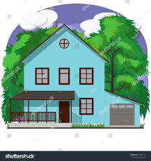blue twostory facade apartment house garage stock vector 470281166