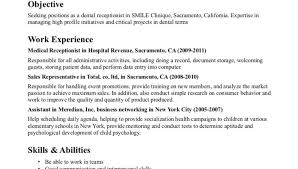Skills And Abilities Resume Example by Resume Example For Dental Receptionist Medical Skills And
