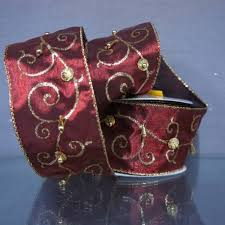 burgundy wired ribbon burgundy metallic satin ribbon w gold glitter swirls and