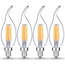 e12 dimmable led filament flame tip candelabra light 6w 60w