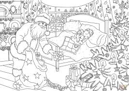 santa claus is delivering presents under the christmas tree while