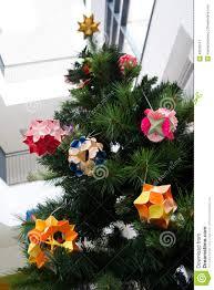 kusudama origami decorations in christmas tree stock photo image