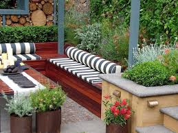 small outdoor garden with cozy stripped seating idea enchanting