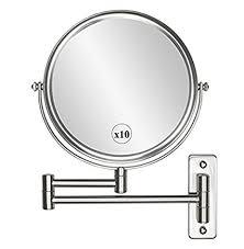 bathroom makeup mirror wall mount amazon com wall mounted makeup mirror 10x magnification 8 two