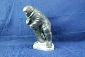 Inuit Soapstone Sculpture Large Inuit Eskimo Soapstone Sculpture Of Hunter With Seal Signed