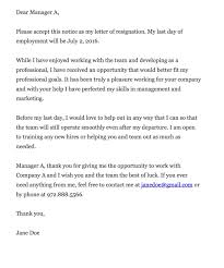 resignation letter example of resignation letter samples with