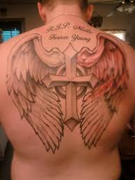collection of 25 cross with wings tattoos on back