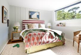 bright cal king headboard in bedroom beach style with cork board