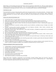 Sample Personal Resume Career Objective In Banking Resume Sample Template For Personal