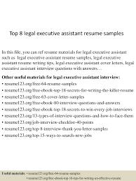 Executive Assistant Resume Sample Top8legalexecutiveassistantresumesamples 150516155133 Lva1 App6891 Thumbnail 4 Jpg Cb U003d1431791536