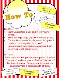 themed writing paper the chalkboard garden national popcorn day tpt products and a i have included 36 character prompts and 36 setting prompts as well as three different writing papers for various levels