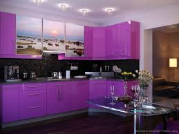 purple kitchen cabinets rukle wall with white floor and table also