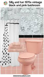 Pink Black And White Shower Curtain 16 Designs To Decorate A Pink And Black Bathroom Retro Renovation