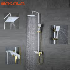 bathing showers best 25 shower cubicles ideas on pinterest shower 2017 high quality solid br luxury rainfall white paint shower bath set faucets wall mounted shower