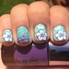 here comes the bride u2026 with some awesome nails hawaiian flowers