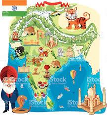cartoon map of india stock vector art 165816237 istock