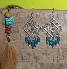 Black Bead Earrings Bronze Chandelier Handmade Boho Hippie Ethnic Gypsy Bronze Black Beaded Chandelier