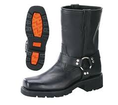 Xelement 1436 Men S Black Short Harness Motorcycle Boots With Lug