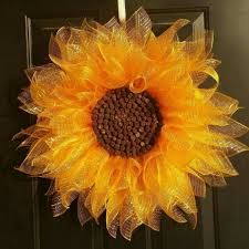 sunflower mesh wreath sunflower wreath pinteres