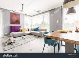 Corner Sofa In Living Room by Contemporary Living Room Family Gray Walls Stock Photo 693493573