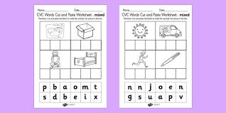 cvc words cut and paste activity sheets mixed cvc word cut