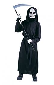 grim reaper child costume with mask halloween hoodie costume for