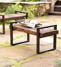 reclaimed wood and iron outdoor bench benches u0026 chairs