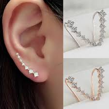 ear hoop lnrrabc women chic new silvery golden rhinestones