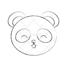 cute sketch draw panda bear face icons by canva