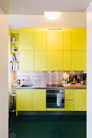 bright yellow small one wall kitchen modern home design more