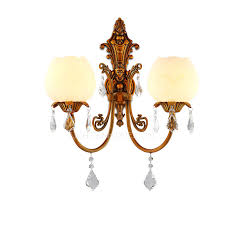 Copper Wall Sconce Lights 2 Light Refined Copper Crystal Wall Sconce Lights