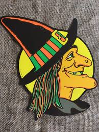 nos vintage style beistle 2 sided cutout witch face in front