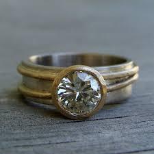14k palladium white gold moissanite ring forever brilliant recycled 14k yellow gold