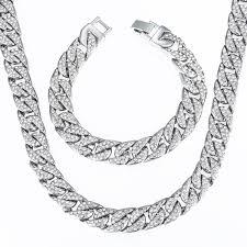 white gold necklace set images Curb cuban mens necklace bracelet chain set white gold filled gf