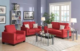 Microfiber Sofa And Loveseat Poundex F7913 3 Pieces Coral Microsuede Sofa Set