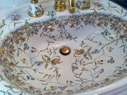 bathroom lovely kohler sinks with floral ornament plus golden