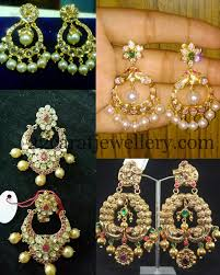 pachi work earrings pachi work thin chandbalis indian jewelry ear rings and