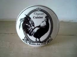 bouton de porte de cuisine bouton de meuble en porcelaine au décor coq déco cagne