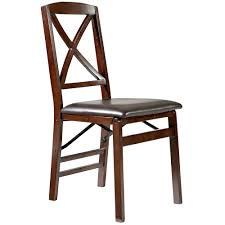 Wood Folding Chairs Linon Triena X Back Wood Folding Chair W Upholstered Padded Seat