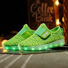 led light up yeezys flash shoes green turquoise sale