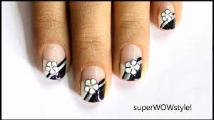 french tip fimo flower cute nail art fimo cane nail designs