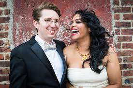 hipster indian wedding bride groom laughing new york wedding