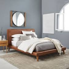 Leather Platform Bed Mod Leather Platform Bed West Elm