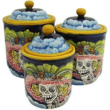 santa rosa majolica round day of the deadkitchen canister msr007