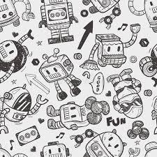 pattern drawing illustrator seamless robot pattern stock vector illustration of fantasy 32779587