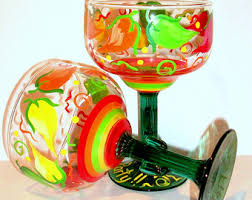 Margarita Gift Set Hand Painted Margarita Glasses Vibrant Chili Peppers Set Of 4