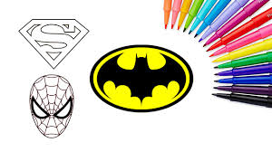 how to draw superheroes batman spiderman superman colouring book