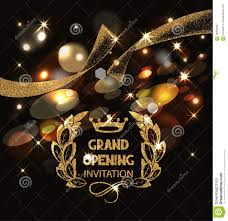 Invitation Cards Design With Ribbons Grand Opening Invitation Card With Gold Abstract Sparkling Ribbon